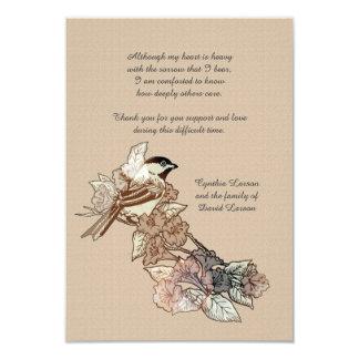 La pérdida solitaria del pájaro le agradece invitación 8,9 x 12,7 cm