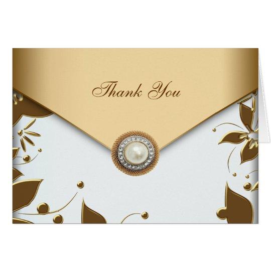 La perla de la flor del oro blanco le agradece las tarjeta pequeña