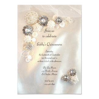 La perla y el fiesta de Quinceañera de los botones Invitaciones Personalizada