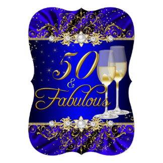 La perla y el remolino azul 50 del oro y fabuloso invitación 12,7 x 17,8 cm