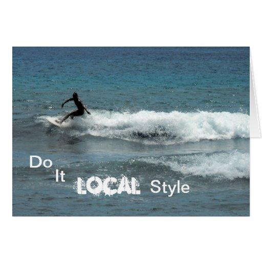 La persona que practica surf, Maui Hawaii, lo hace Tarjeta