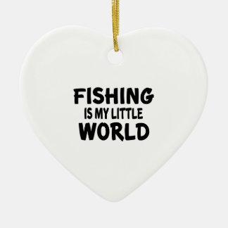 La pesca es mi pequeño mundo adorno navideño de cerámica en forma de corazón