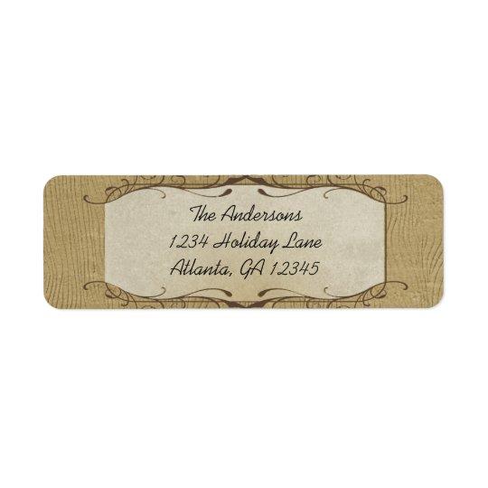 La piedra remolinó en la etiqueta de madera del etiquetas de remite