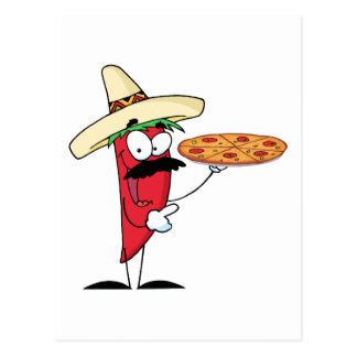La pimienta de Chile del sombrero soporta la pizza Postal
