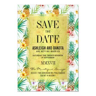 La piña y los hibiscos tropicales ahorran la fecha invitación 8,9 x 12,7 cm