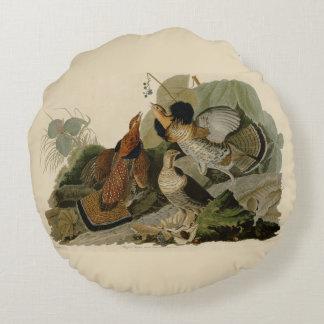 La pintura de Audubon de un trío del urogallo Cojín Redondo