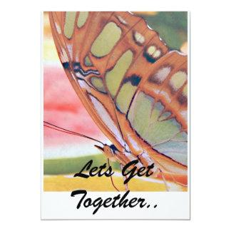 La pintura de oro de la mariposa, deja la reunión. invitación 12,7 x 17,8 cm