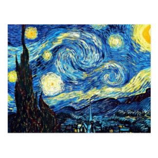 La pintura famosa de Van Gogh, noche estrellada Postal
