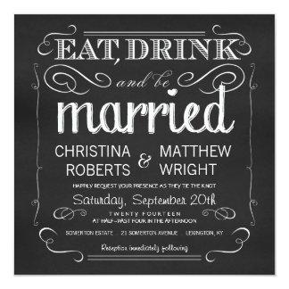 La pizarra come la bebida sea invitaciones casadas invitación 13,3 cm x 13,3cm