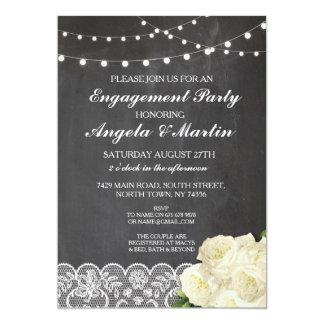 La pizarra del fiesta de compromiso enciende el invitación 12,7 x 17,8 cm