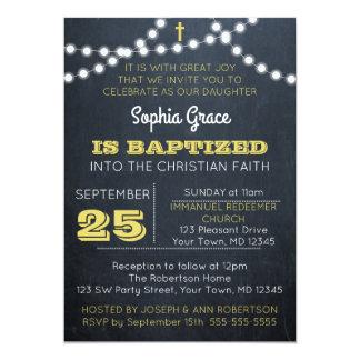 La pizarra enciende la invitación del bautismo del