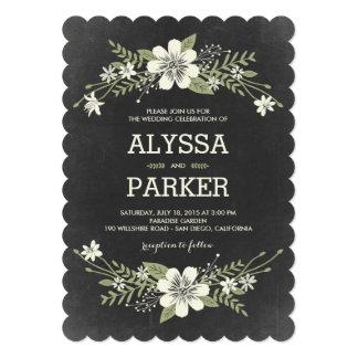 La pizarra florece las invitaciones del boda invitación 12,7 x 17,8 cm