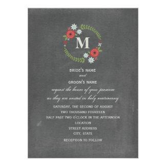 La pizarra inspiró el boda floral del monograma de comunicado personalizado