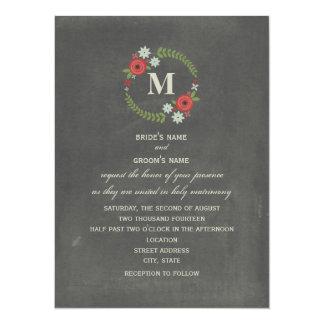 La pizarra inspiró el boda floral del monograma de invitación 13,9 x 19,0 cm