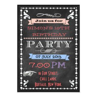 La pizarra retra embroma invitaciones de la fiesta invitación 12,7 x 17,8 cm