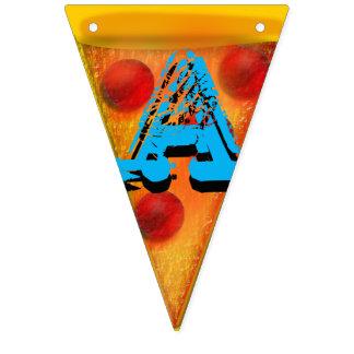 La pizza es mis colgantes del empavesado del banderines
