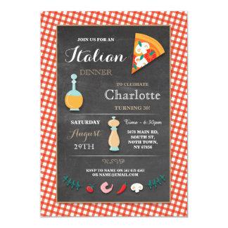 La pizza italiana de la tiza de la fiesta de invitación 12,7 x 17,8 cm