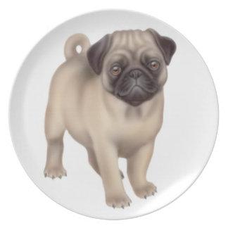La placa amistosa del perro del barro amasado plato de comida