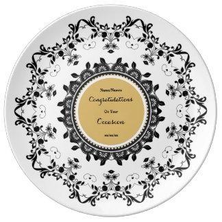 La placa conmemorativa elegante de la porcelana plato de porcelana