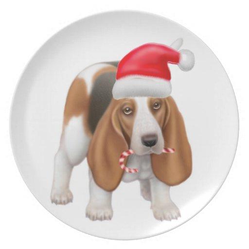 La placa del perro del día de fiesta platos para fiestas