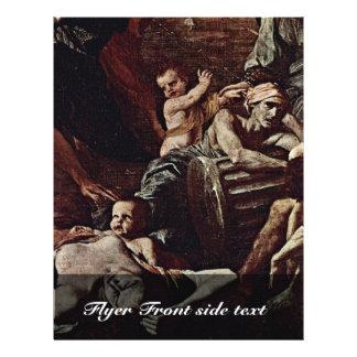 La plaga del detalle de Ashdod de Poussin Nicolás Folleto 21,6 X 28 Cm