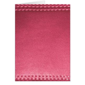 La plantilla de cuero púrpura de la textura añade tarjeta de felicitación