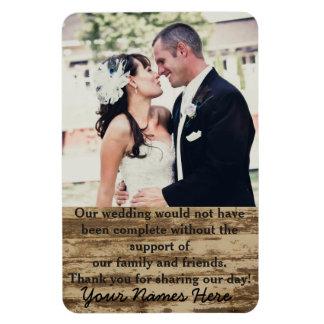 La plantilla de la foto del boda le agradece imán