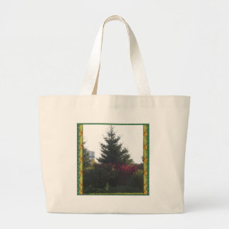 La plantilla de las flores del árbol de los bolsa tela grande