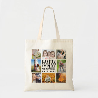 La plantilla del collage de la foto de la familia bolso de tela