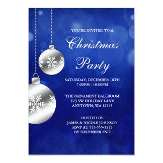 La plata adorna a la fiesta de Navidad azul de Invitación 11,4 X 15,8 Cm