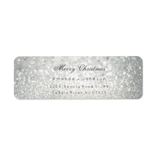 La plata delicada de las Felices Navidad Etiqueta De Remite