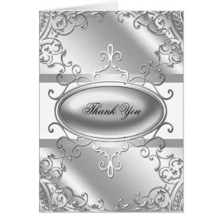 La plata elegante y el blanco le agradecen las tarjeta pequeña