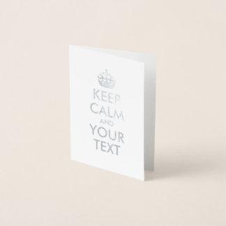 La plata guarda calma y su texto tarjeta con relieve metalizado