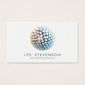 La plata moderna fresca circunda la esfera tarjeta de visita