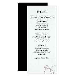 La plata moderna suena el menú de encargo del boda invitación 10,1 x 23,5 cm