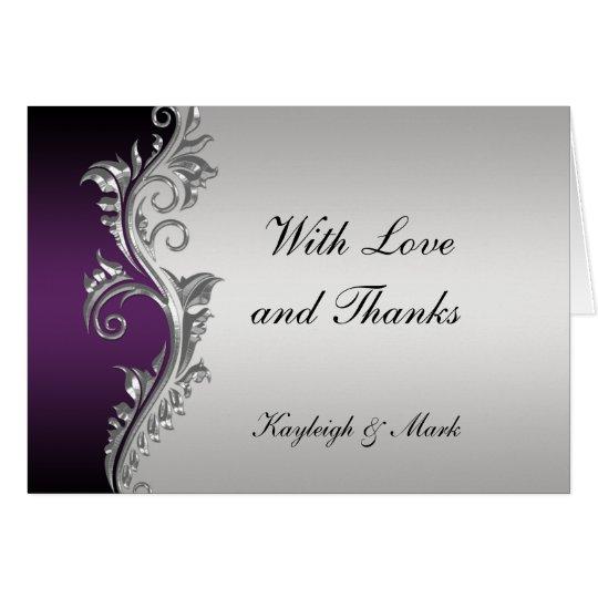 La plata negra púrpura del vintage le agradece tarjeta pequeña