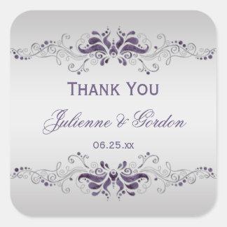La plata púrpura adornada remolina favor cuadrado  pegatina cuadradas personalizadas