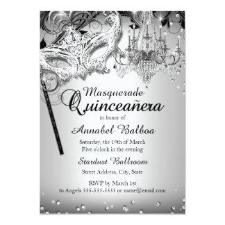 La plata Quinceanera de la mascarada de la lámpara Invitación 12,7 X 17,8 Cm