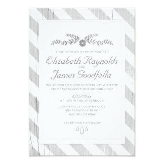 La plata raya invitaciones del boda invitación 12,7 x 17,8 cm