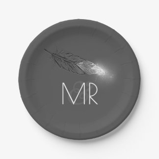 La plata sumergió el boda gris elegante de la plato de papel