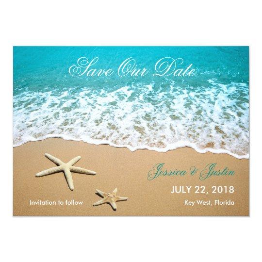 La playa con las estrellas de mar ahorra la invitación 11,4 x 15,8 cm