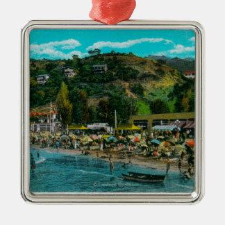 La playa de baño en Avalon, isla de Catalina Adorno De Navidad