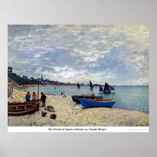 La playa en Sainte Adresse de Claude Monet Póster