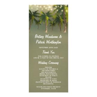 La playa enciende programas tropicales del boda de tarjeta publicitaria