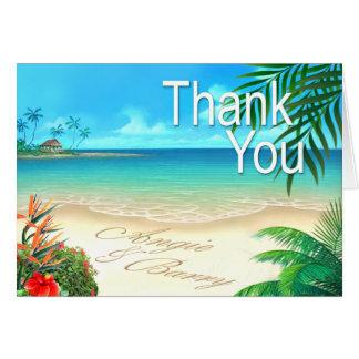 La playa exótica de Angie y de Barry le agradece:: Tarjeta Pequeña
