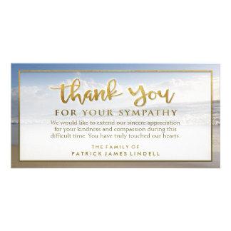 La playa hermosa de oro le agradece tarjeta de tarjetas fotograficas personalizadas
