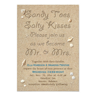 La playa Sandy toca con la punta del pie besos Invitación 12,7 X 17,8 Cm