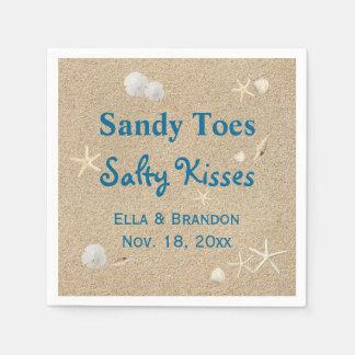 La playa Sandy toca con la punta del pie besos Servilletas De Papel