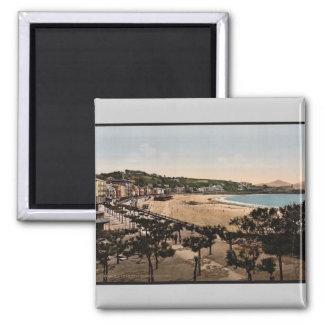 La playa, vintage Photochrom de San Sebastián, Esp Iman De Frigorífico