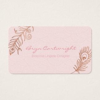 La pluma color de rosa del oro se ruboriza las tarjeta de visita